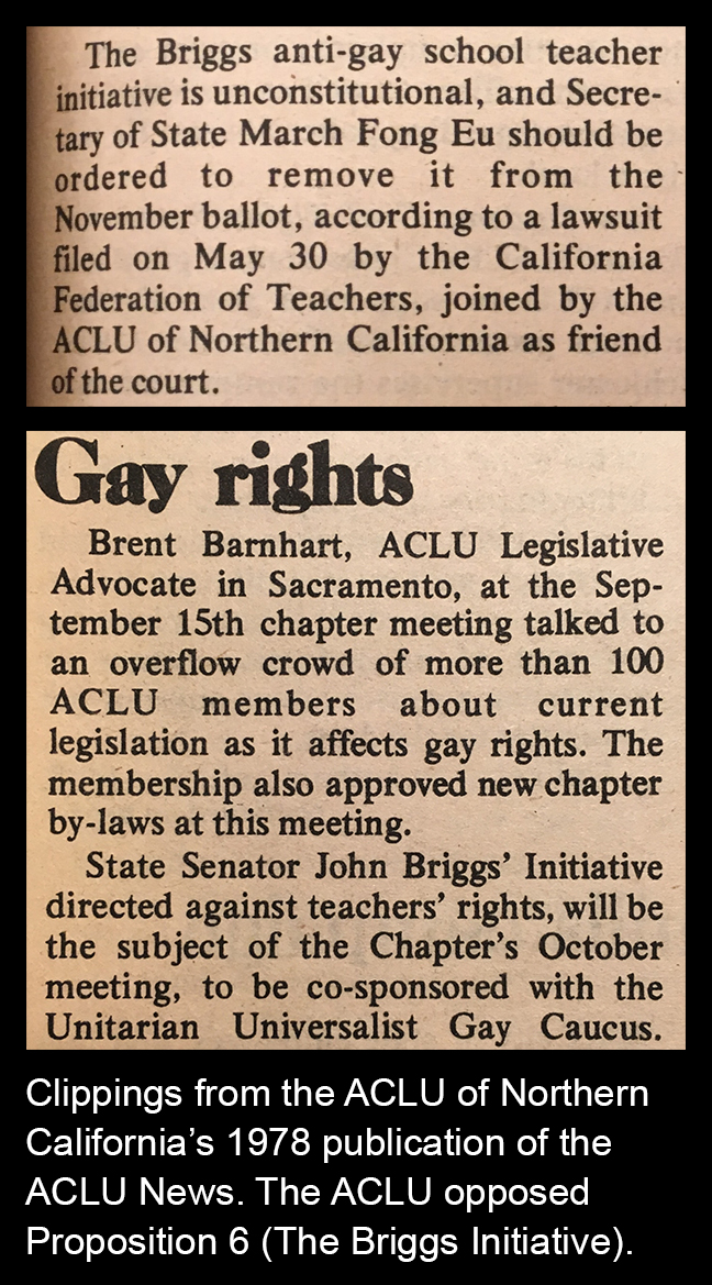 ACLU News Clippings - ACLU opposed Prop 6