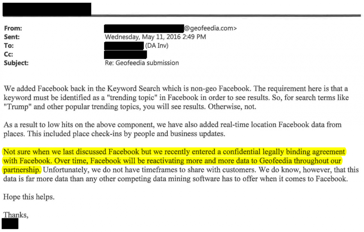 Geofeedia email touting an agreement with Facebook