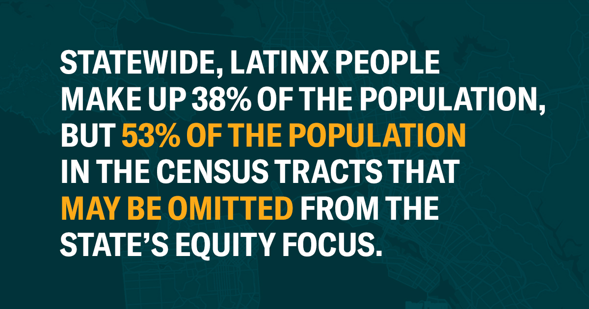 Statewide, Latinx people make up approximately 38% of the population, but Latinx people make up 53% of the population in the census tracts that may be omitted from the state's equity focus