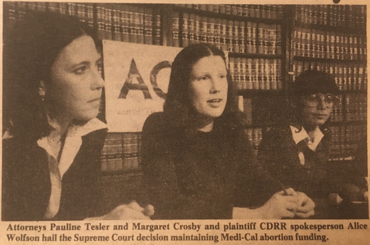 Maggie Crosby and co-counsel at a press conference announcing the California Supreme Court victory.
