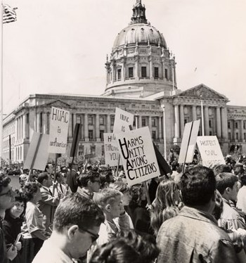 Students protest against HUAC in front of San Francisco City Hall