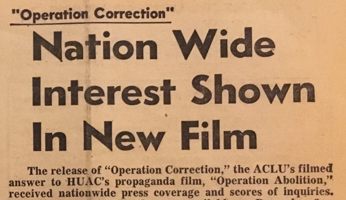 "ACLU News clipping from 1962: ""Operation Correction: Nation Wide Interest Shown in New Film"""