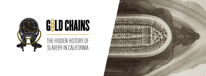 Gold Chains, the hidden history of slavery in California, art piece man embodying slave ship