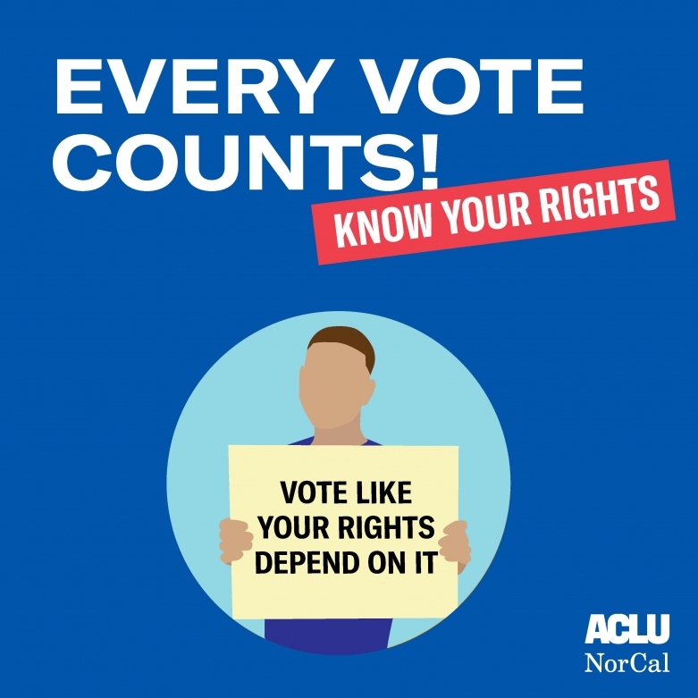 "Know Your Rights Every Vote Counts illustration of man holding sign that says ""Vote like your rights depend on it"""