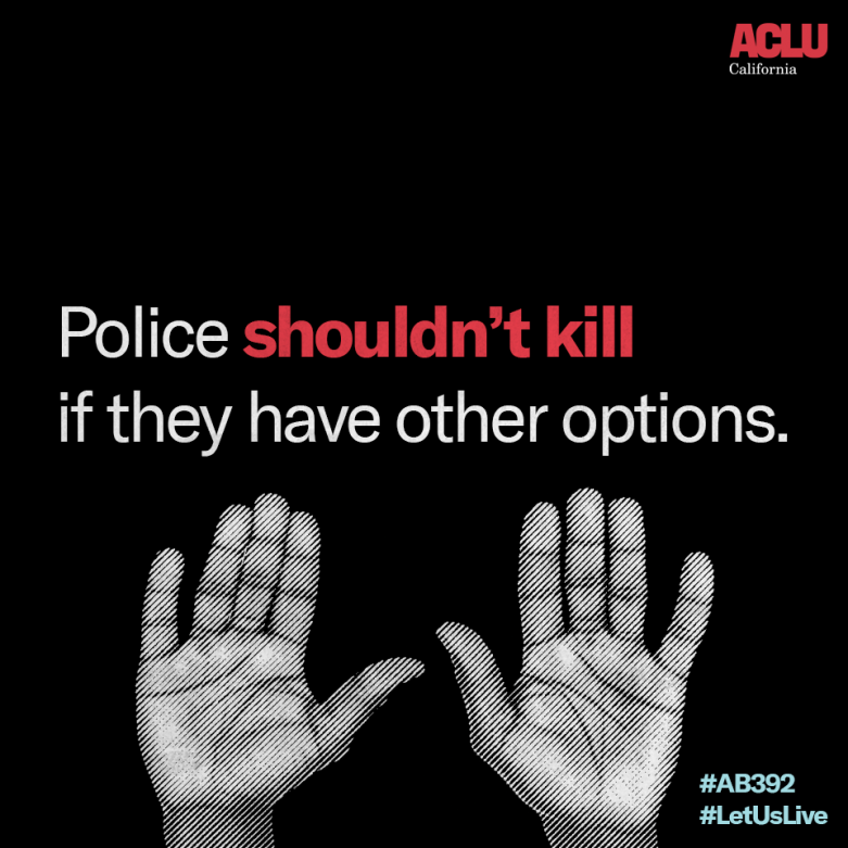 Hands Up Graphic with Text Police Shouldn't Kill If They Have Other Option