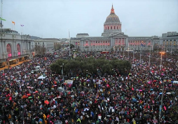 Thousands protest against the Muslim ban in front of San Francisco City Hall in January 2017