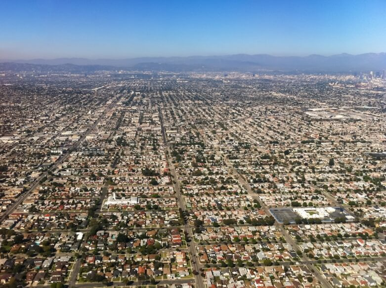 Aerial view of Los Angeles, CA