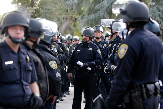 UC Davis police in 2011 responding to Occupy student protesters