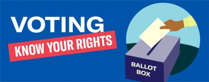 Voting Know Your Rights. Illustration of a hand placing ballot in ballot box.
