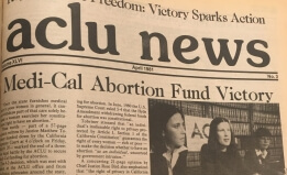 A clipping from the 1981 ACLU News announcing victory in the lawsuit to protect abortion care in California