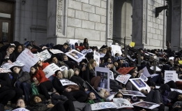 2015 lawyer die-in California Supreme Court by Martha Winnacker