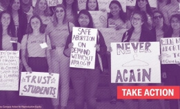 students with signs supporting abortion