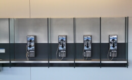 Phone booths in a line