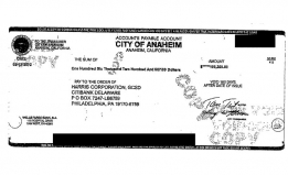 An image of a check from the City of Anaheim to Harris Corporation, for $106,200