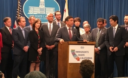 Assemblymember Rob Bonta at a podium