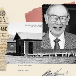 Collaged photograph of Fred Korematsu