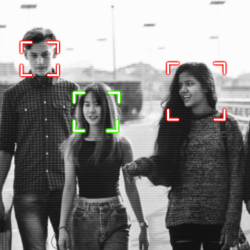 three students walking with face recognition software following them