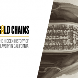 Gold Chains social media image, slave ship embodied and logo