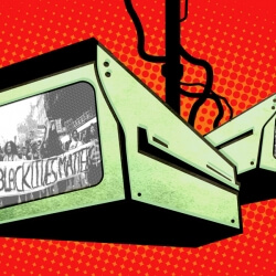 Two surveillance cameras with reflection of BLM protesters. Image by Electronic Frontier Foundation under Creative Commons license.