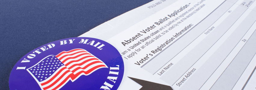Photograph of an application to vote by mail