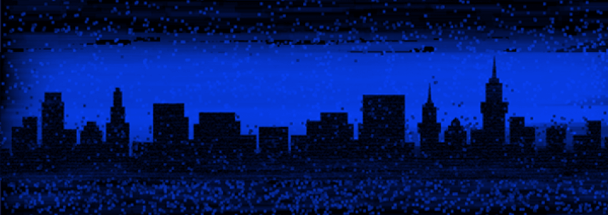 City Skyline with Blue Filter