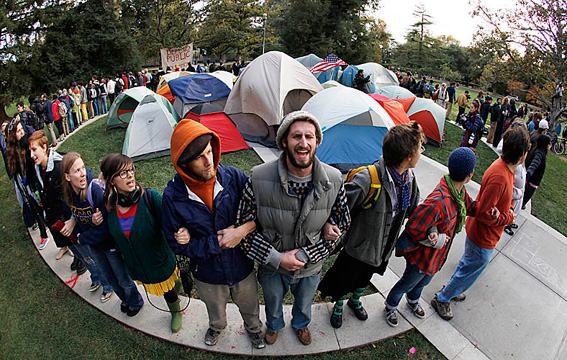 UC Davis students at an Occupy protest.